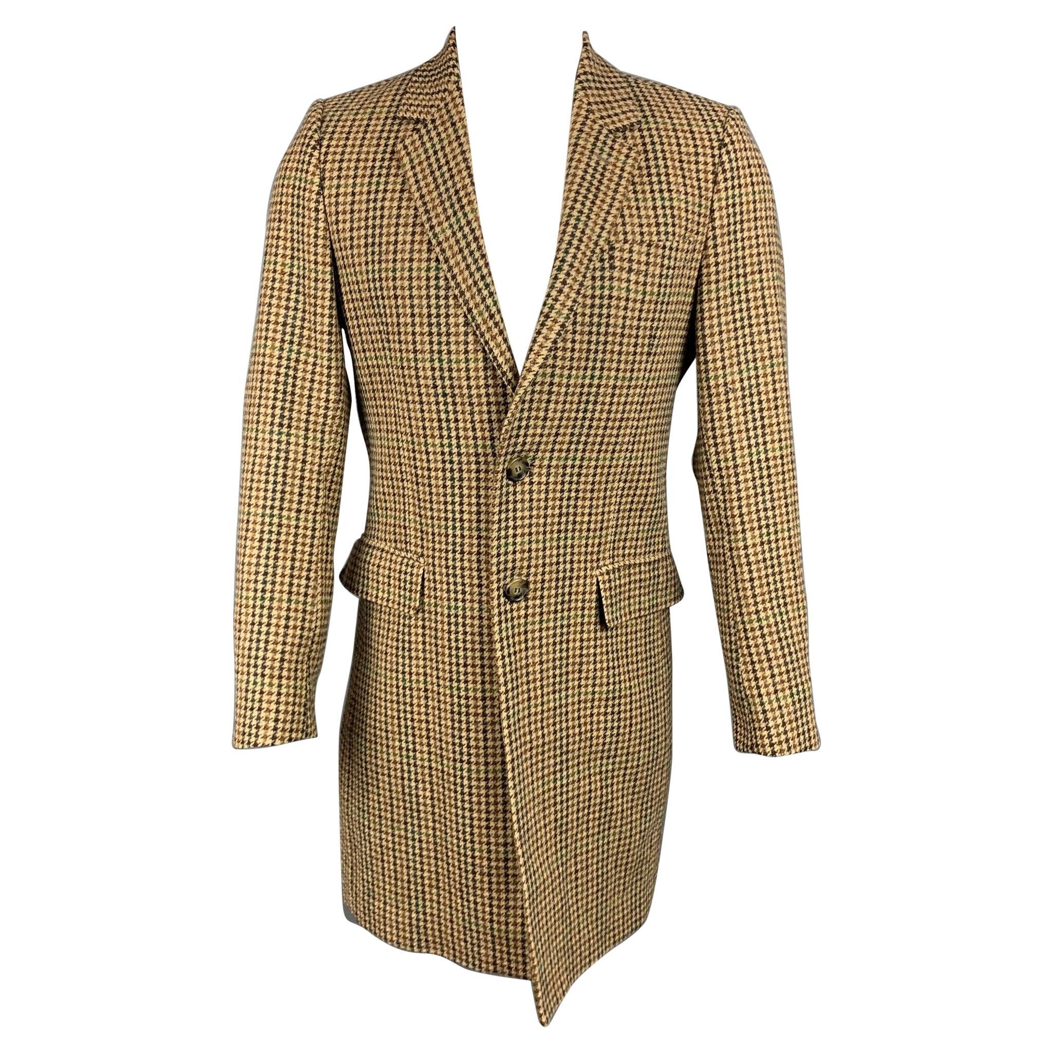 AMI by ALEXANDRE MATTIUSSI Size 40 Tan & Brown Plaid Wool Notch Lapel Coat