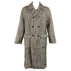 DOLCE & GABBANA Oversized Size 38 Black & White Herringbone Double Breasted Coat