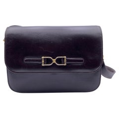 Gucci Vintage Brown Leather Boxed Flap Shoulder Bag