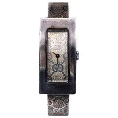 Gucci Vintage Silver Metal Wrist Watch Bracelet Bangle