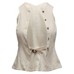 Rosie Assoulin White Button-Up Vest