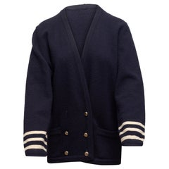 Chanel Navy & White Double-Breasted Cashmere Cardigan