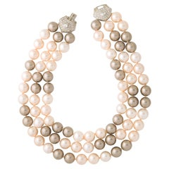 Classic Tahitian Seas Mix Japanese Hand Made Faux Pearl Triple Strand Necklace