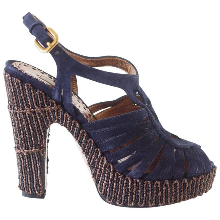prada shoe navy suede unique platform and bold heel 37 7