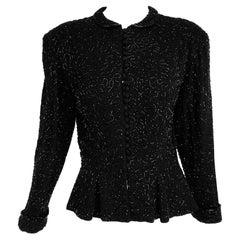 1930s Heavily Beaded Black Crepe Peplum Jacket