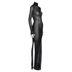 Christian Dior by John Galliano black open knit beaded maxi dress, fw 2001
