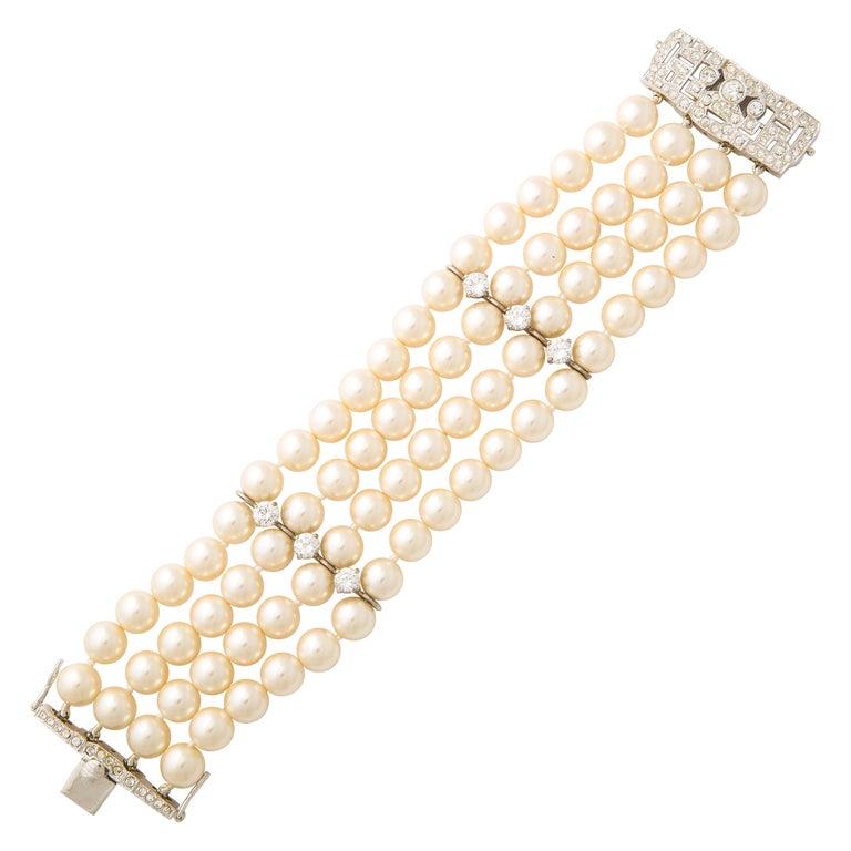On Sale!! Art Deco Style Faux Diamond Sterling Japanese Glass Pearl Bracelet For Sale