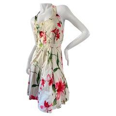 D&G by Dolce & Gabbana Vintage Cotton Floral Halter Style Cocktail Dress