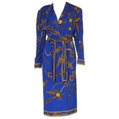 Vintage Leonard Paris Jewelry Motif Silk Jersey Mikado Belted Wrap Dress