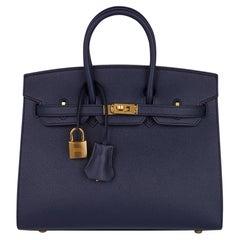 Hermes Birkin Sellier 25 Bag Blue Indigo Gold Hardware Epsom Leather New w/Box