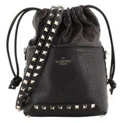 Valentino Rockstud Drawstring Bucket Bag Pebbled Leather Mini