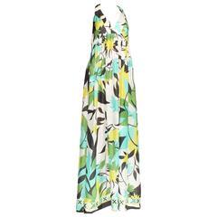 Amazing Emilio Pucci Signature Pastel Print Silk Mix Dress Gown