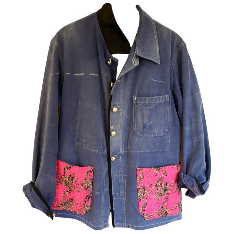 Jacket Blue Vintage Designer Neon Pink Tweed French Work Wear J Dauphin For Sale