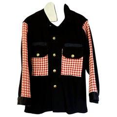 Black Jacket White Red Designer Tweed Gold Button Embellished J Dauphin