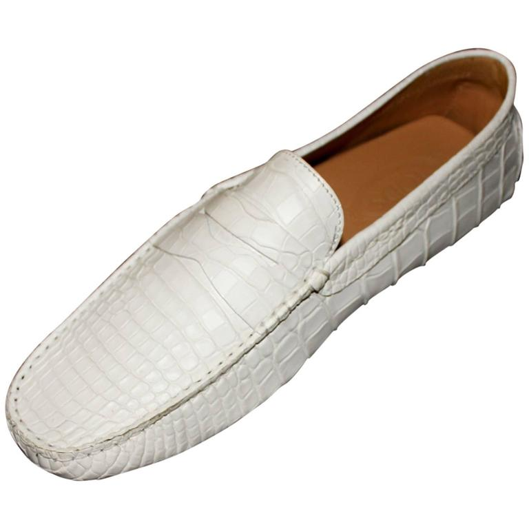 TOD'S White Gommino  Driving Shoes  Exotic Crocodile Skin Moccasins