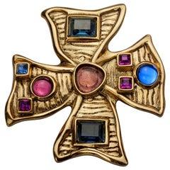 Vintage JEAN LOUIS SCHERRER Jewelled Maltese Cross Pendant