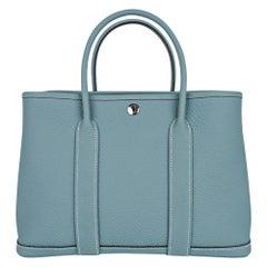 Hermes Bag Garden Party 30 Bag Ciel / Vache Country Leather Palladium New w/Box