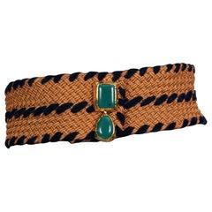 Vintage YVES SAINT LAURENT Ysl Turquoise Jewel Buckle Woven Passementerie  Belt