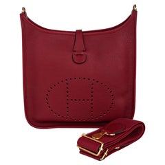 Hermes Evelyne PM Bag Rouge Grenat Gold Hardware Clemence