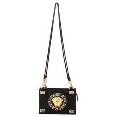 Versace Vintage Medusa Zip Shoulder Bag Crystal Embellished Satin Small