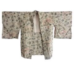 Antique Japanese Rare silver thread Silk Brocade Haori Kimono Jacket