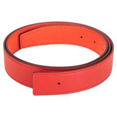 HERMES red Jaipur pink 32mm Reversible Belt Strap 100 Swift / Epsom leather