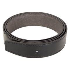 HERMES black Etain grey 32mm Reversible Belt Strap 105 Box / Togo leather