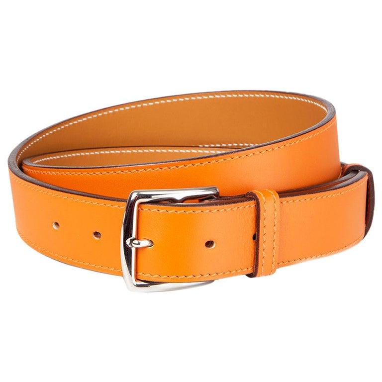 HERMES orange ETRIVIER 32mm Belt 100 Chamonix For Sale