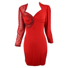 Renato Balestra Vintage Italian Couture Red Beaded Sheer Sleeve Party Dress