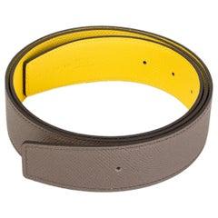 HERMES Naples yellow & Etain grey Reversible 38mm Belt Strap 85 Epsom leather