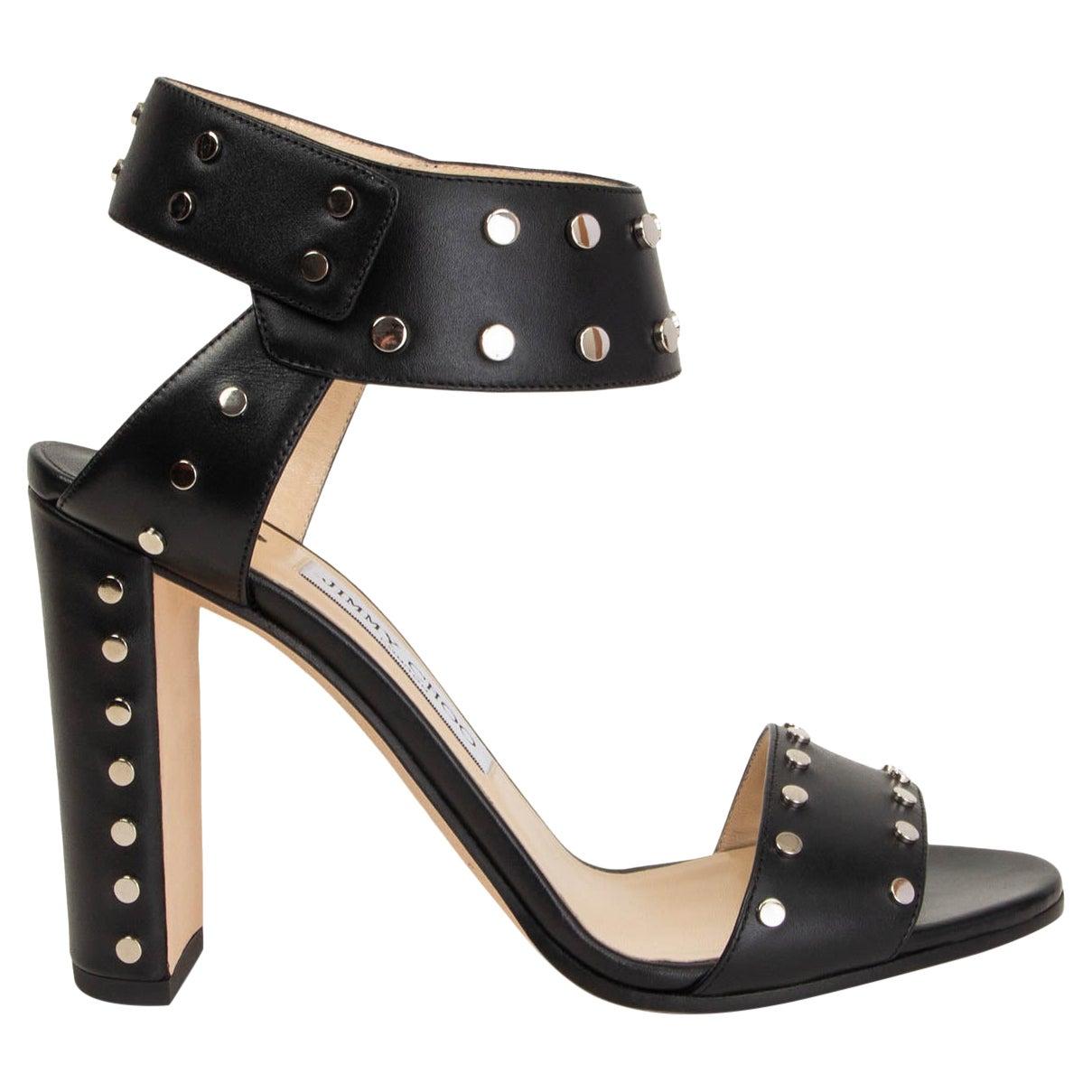 JIMMY CHOO black leather STUDDED VETO 100 Sandals Shoes 39