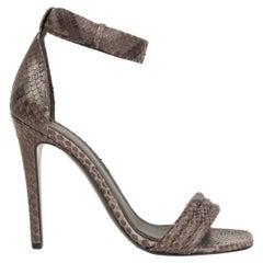 CELINE grey snakeskin PYTHON Ankle Strap Sandals Shoes 37