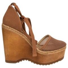 STELLA MCCARTNEY brown Canvas & Mesh Wooden Wedge Espadrilles Sandals Shoes 38