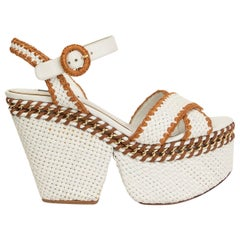 DOLCE & GABBANA white Woven leather CHAIN Wedge Espadrilles Sandals Shoes 39