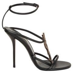 SAINT LAURENT black leather YSL CASSANDRA Ankle Strap Sandals Shoes 38