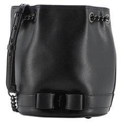 Salvatore Ferragamo Vara Chain Bucket Bag Leather Small