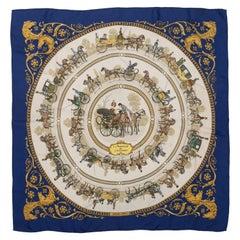 Hermes La Promenade De Blue & Multicolor Longchamps Silk Scarf