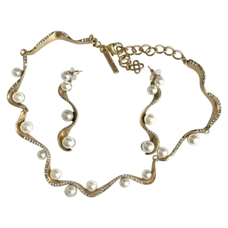 Signed Oscar de la Renta Faux Pearl and Crystal Designer Necklace and Earrings  For Sale
