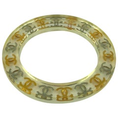 Chanel Vintage Lucite Bangle Bracelet with Gold and Silver CC Logos S/S 1997