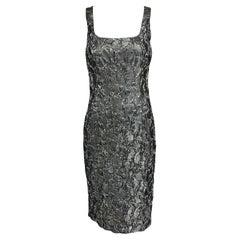 Michael Kors Collection Platinum Metallic Silk Cloque Sheath Dress