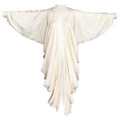 Alik Singer Cream Silk Jacquard Satin Bias Draped Bat Wing Dress 1980s