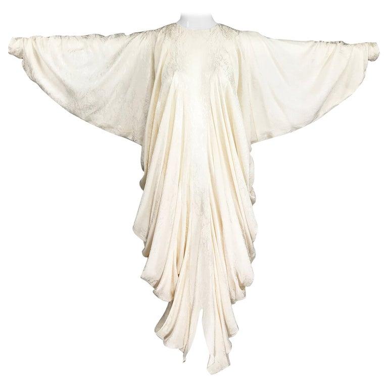 Alik Singer Cream Silk Jacquard Satin Bias Draped Bat Wing Dress 1980s For Sale