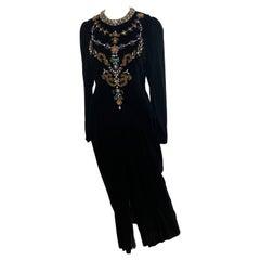 Vintage and Rare Oscar de la Renta Gown with Jeweled Neckline