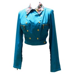 Vintage turquoise Jean Paul Gaultier double-breasted jacket