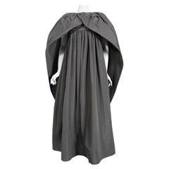 Vintage 1978 Pierre Cardin Haute Couture Charcoal Silk Voluminous Gown & Cape