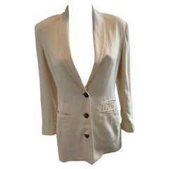 Ozbek 1990s Silk Size 6 Ivory Blazer Jacket