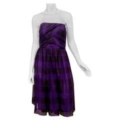 Bergdorf Goodman Purple and Black Silk Organza Strapless Dress