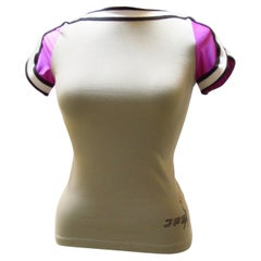 Jean Paul Gaultier Grey and Purple Fitted Tee