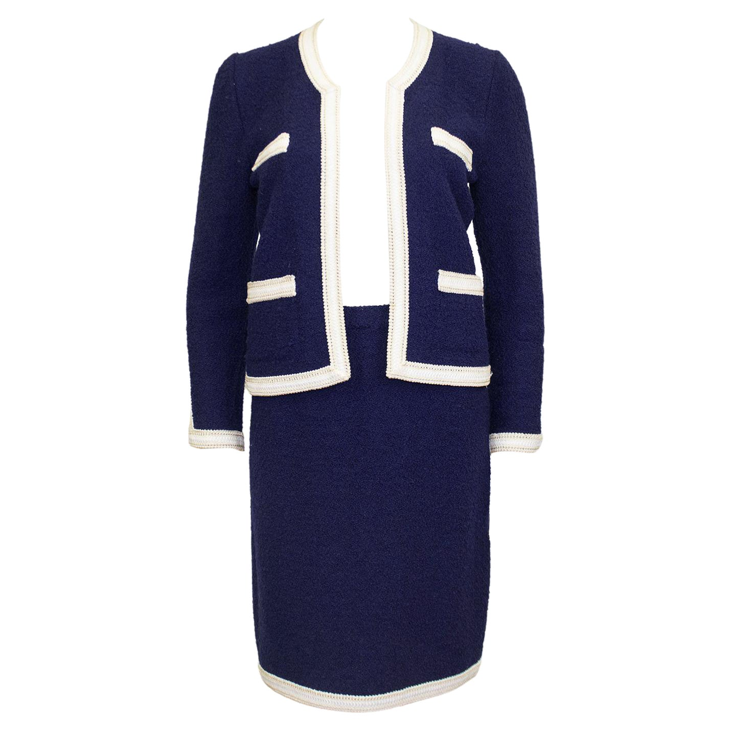 1980s Adolfo Navy Blue and White Knit Skirt Suit