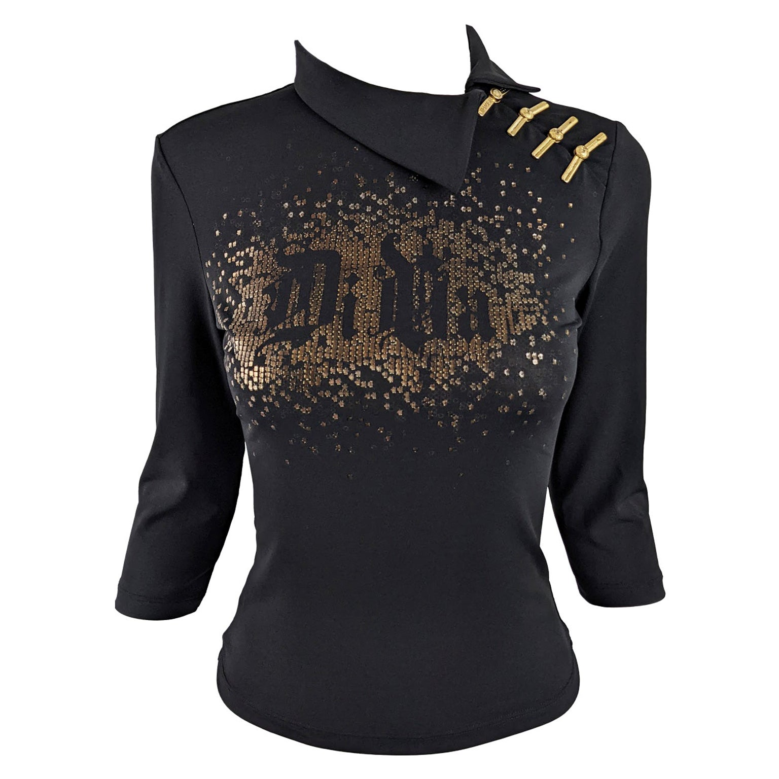 Versace Vintage y2k 'Diva' Print Black & Gold Asian Style Party Top, 2000s